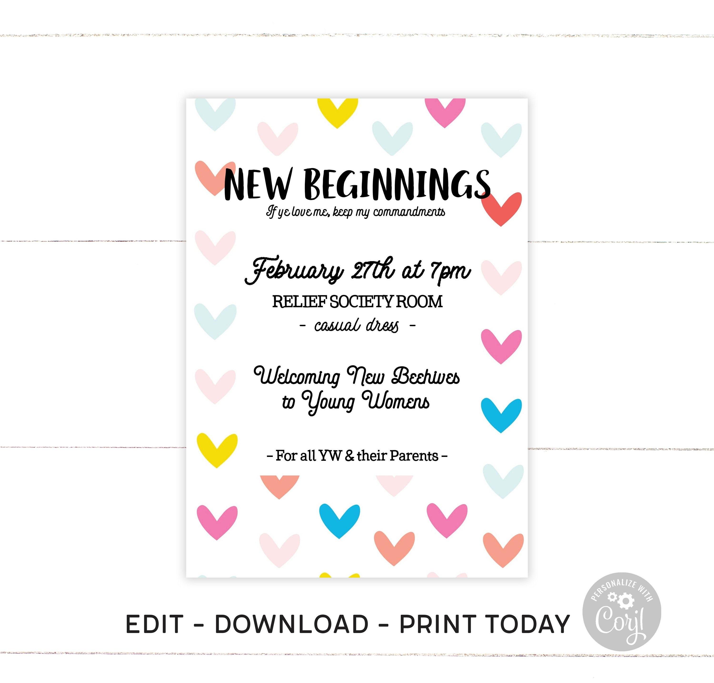 New Beginnings Invitation Program Flyer Young Women Etsy