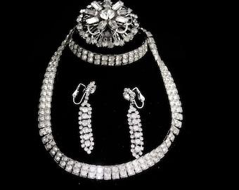 """Vintage Rhinestone parure - deco silver necklace - 14"""" choker - 2"""" chandelier earrings - Dazzling bracelet - clip on earrings - big brooch"""