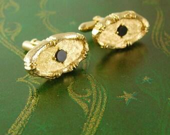 a02b1e57147d Fancy gold Cufflinks Black Onyx Swank wedding tuxedo cool mens gift estate  formal wear mens jewelry