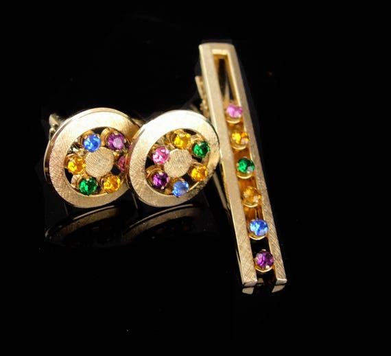 abdffa15a54c Vintage Wedding cufflinks / rhinestone tie clip / Anson | Etsy