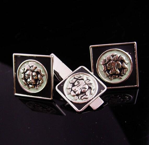 2ed2c070d82a Lion cufflinks / vintage tie clip set / Vintage silver | Etsy