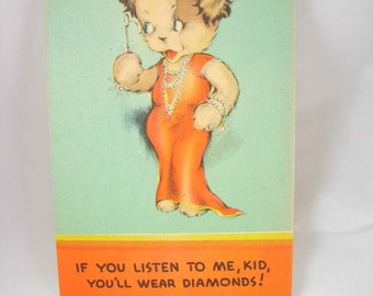 Vintage WWII Sexy Diamond Crowned Dog Cartoon Humor Female Movie Star Linen Unused Blank