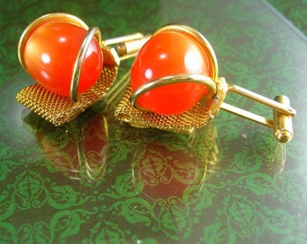 Orange Cufflinks Moonglow tangerine HUGE Vintage Cufflinks Gold Filled Mesh Wrap hipster novelty halloween cufflinks