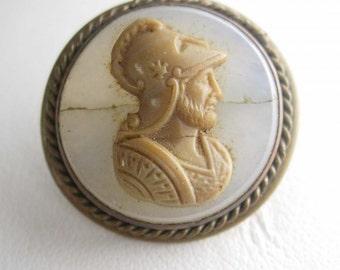 Victorian Cameo Collar Button Brass Figural Man Head Military Warrior Collectors  Accessory antique victorian mens jewelry Neoclassical