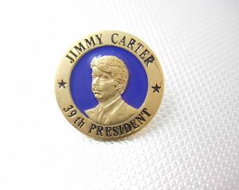 Jimmy Carter 39th President Tie tack Lapel Pin Vintage Blue Enamel Gold plated W.L. Bristol Bristol, TN Political Collectors