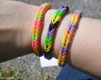 RAINBOW LOOM FISHTAIL Bright Colors Rubberband Bracelet! You choose the style!