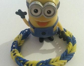 RAINBOW LOOM MINION Fishtail Rubberband Bracelet!