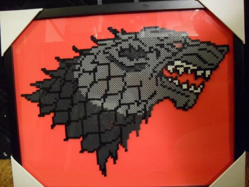 STARK DIREWOLF Game of Thrones Perler Bead Handmade Framed Art  Winter is  Coming!