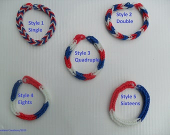 RAINBOW LOOM FISHTAIL Red White Blue Rubberband Bracelet! You choose the style!