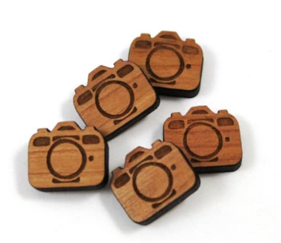 Wood & Acrylic Mini Shapes.8 Pieces.Camera  Laser Cut Supplies