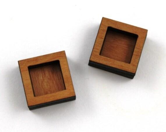 Wood & Acrylic Mini Shapes.8 Pieces.Square Bezel  Laser Cut Supplies