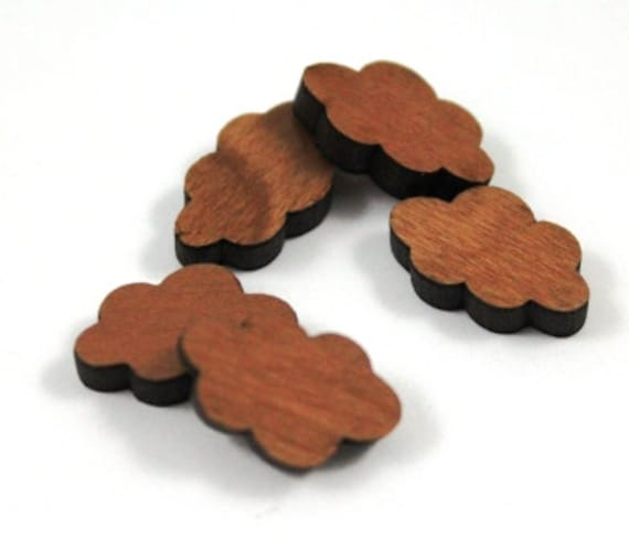 Wood & Acrylic Mini Shapes.8 Pieces.Fluffy Cloud  Laser Cut Supplies