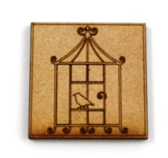 Laser Cut Supplies-1 Piece Bird Cage Charms-Acrylic and Wood Laser Cut-Jewelry Supplies-Little Laser Lab Wood and Acrylic Products