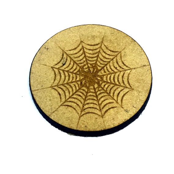 Wood & Acrylic Mini Shapes.8 Pieces.  Spider In Web Mini  Laser Cut Supplies
