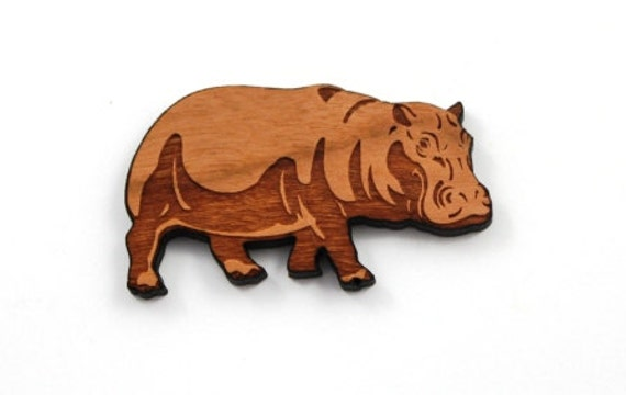 Wood And Acrylic Shapes. 1 Piece.Hippopotamus Charms. Laser Cut Wood And Acrylic
