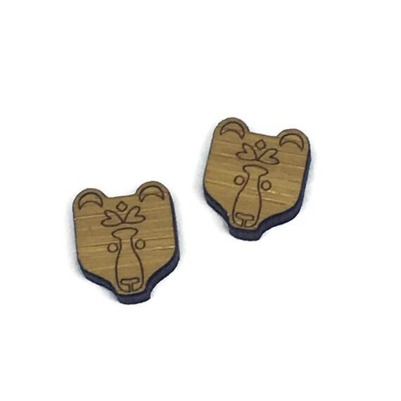 Bamboo Mini Shapes.8 Pieces.Folk Art Bear. Laser Cut Supplies