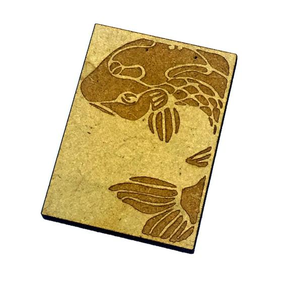 Wood & Acrylic Mini Shapes.8 Pieces.  Japanese Koi Mini  Laser Cut Supplies