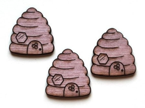 Wood And Acrylic Shapes. 1 Piece Bee Hive Charms. Laser Cut Wood And Acrylic