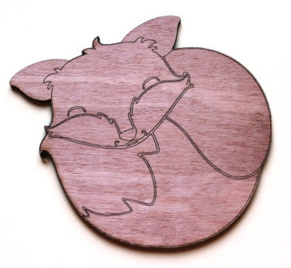 Laser Cut Supplies-1 Piece Sleeping Fox Charms-Acrylic and Wood Laser Cut -Jewellery Supplies- Little Laser Lab Wood and Acrylic Products
