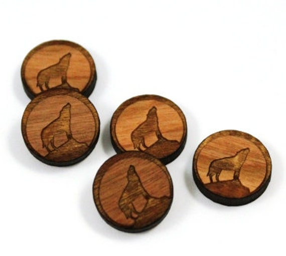 Wood & Acrylic Mini Shapes.8 Pieces.Wolf Halloween  Laser Cut Supplies