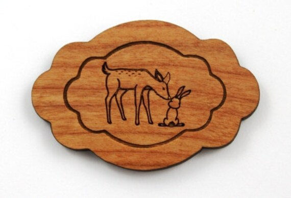 Wood And Acrylic Shapes. 1 Piece.Deer & Rabbit Charms. Laser Cut Wood And Acrylic