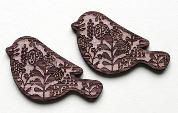 Wood And Acrylic Shapes. 1 Piece Bird Charms. Laser Cut Wood And Acrylic