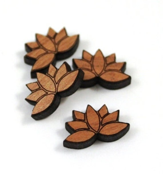 Wood & Acrylic Mini Shapes.8 Pieces.Lotus Flower  Laser Cut Supplies