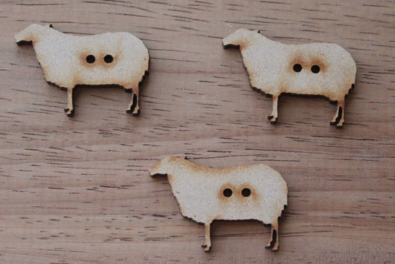 8 pieces. Sheep Buttons, 3.6 cm Buttons -Acrylic and Wood Laser Cut-Jewellery Supplies-Little Laser Lab Wood and Acrylic Products