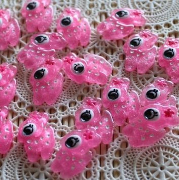 6 Pieces.Resin Flatback Cabochons 26mm Pink Little Deer. Craft Supplies. DIY Supplies