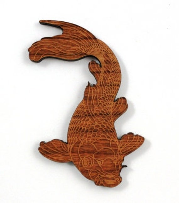 Wood And Acrylic Shapes. 1 Piece Koi Fish Charms. Laser Cut Wood And Acrylic
