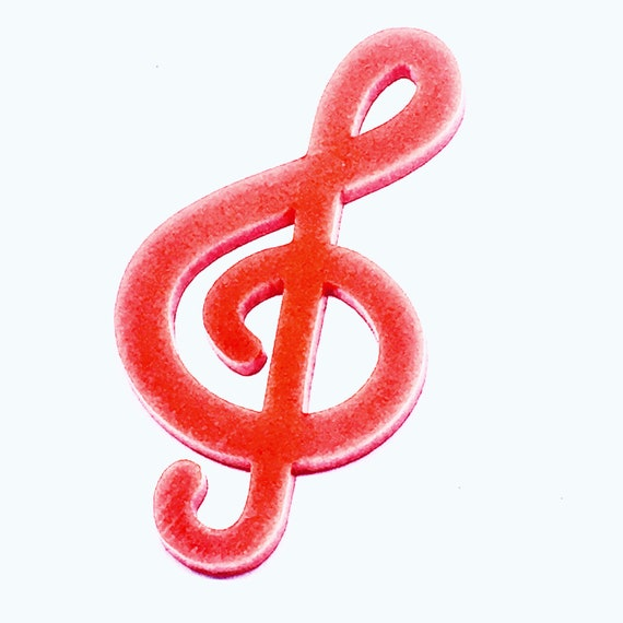 Wood And Acrylic Shapes. 1 Piece. Treble Clef Charms. Laser Cut Wood And Acrylic