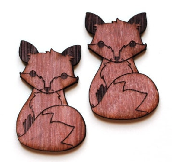 Laser Cut Supplies-1 Piece Fox Charms-Acrylic and Wood Laser Cut -Jewellery Supplies- Little Laser Lab Wood and Acrylic Products