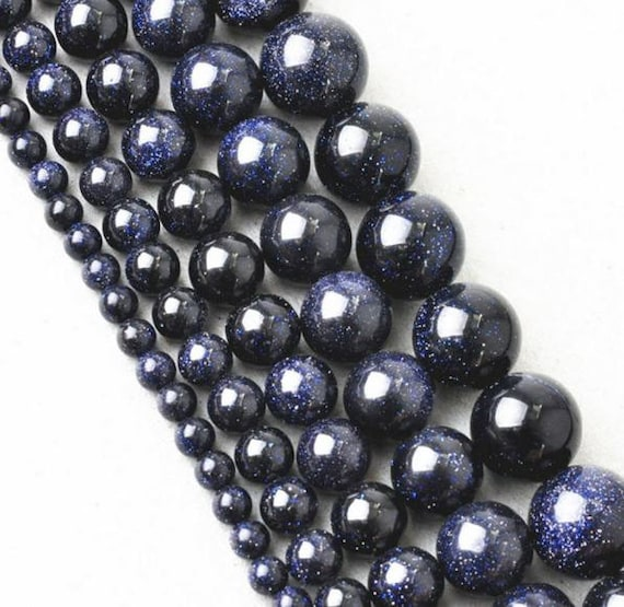 Bead Supplies- 1 String .Midnight Glitter Beads 12mm. Natural Stone Beads For Jewelry Making and Beading -Jewelry Supplies-Little Laser Lab.