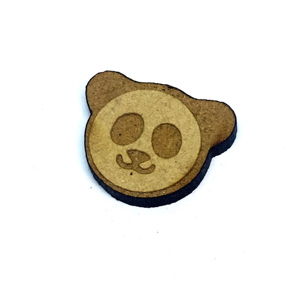 Wood & Acrylic Mini Shapes.8 Pieces.  Panda Head Mini  Laser Cut Supplies
