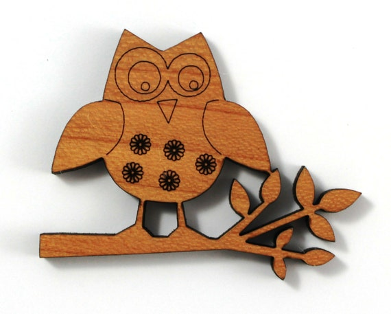 Wood And Acrylic Shapes. 1 Piece.Floral Owl Charms. Laser Cut Wood And Acrylic