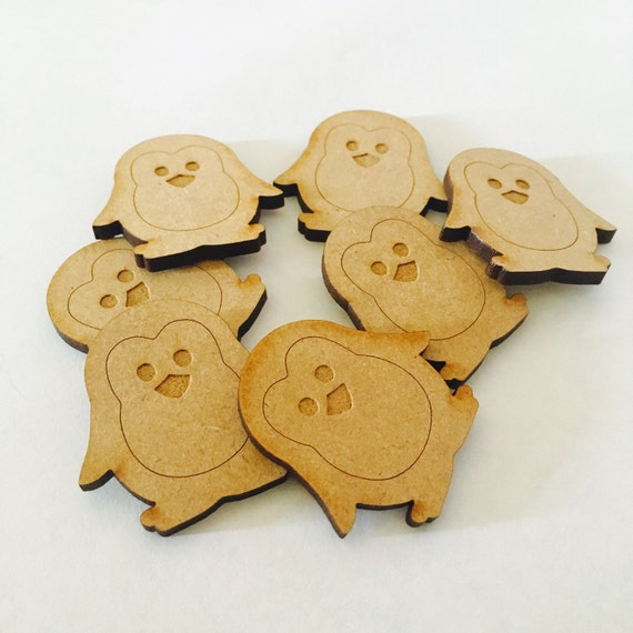 Lasercut Craft Wood Penguin.  Set of 2. 35mm Acrylic and Wood Laser Cut-Jewellery Supplies-Little Laser Lab Wood and Acrylic Products