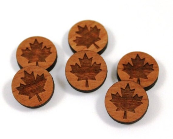 Laser Cut Supplies- 8 Pieces.Maple Leaf Charms-Acrylic and Wood Laser Cut-Jewellery Supplies- Little Laser Lab Wood and Acrylic Products