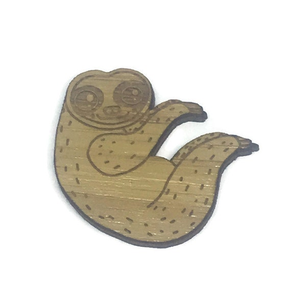 Bamboo Shapes. 1 Piece Sloth Charms. Laser Cut Wood