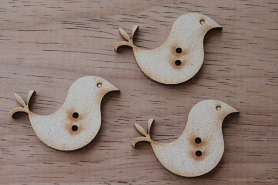 8 pieces.Craft Wood Love Bird Buttons,4 cm Buttons -Acrylic and Wood Laser Cut-Jewellery Supplies-Little Laser Lab Wood and Acrylic Products