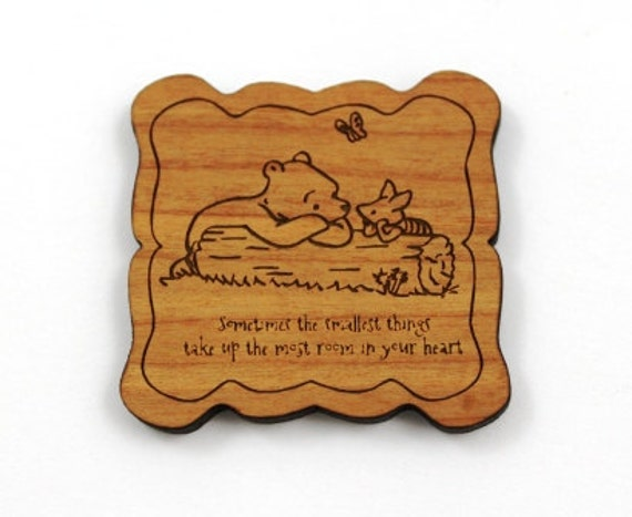 Wood And Acrylic Shapes. 1 Piece.Classic Pooh Bear Charms. Laser Cut Wood And Acrylic