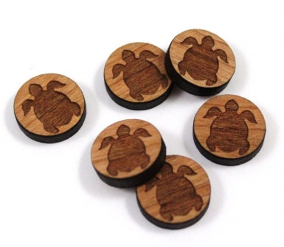 Wood & Acrylic Mini Shapes.8 Pieces.Turtle  Laser Cut Supplies