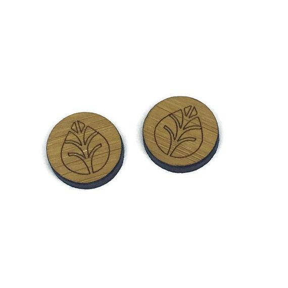 Bamboo Mini Shapes.8 Pieces.Folk Art Simple Leaf. Laser Cut Supplies
