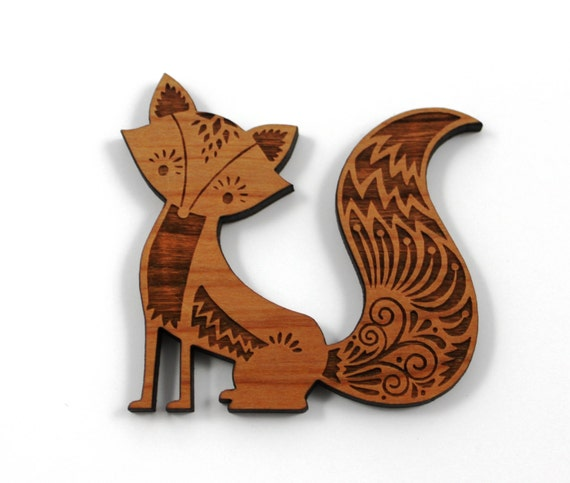 Wood And Acrylic Shapes. 1 Piece.Woodland Fox Charms. Laser Cut Wood And Acrylic