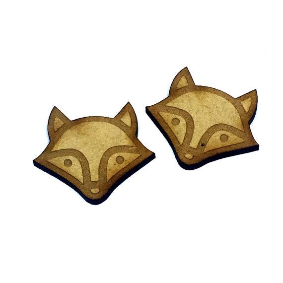 Wood & Acrylic Mini Shapes.8 Pieces.  Fox Head Mini  Laser Cut Supplies