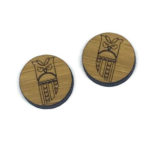 Bamboo Mini Shapes.8 Pieces.Folk Art Pattern Owl. Laser Cut Supplies