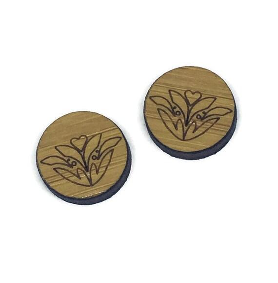Bamboo Mini Shapes.8 Pieces.Folk Art Pattern. Laser Cut Supplies