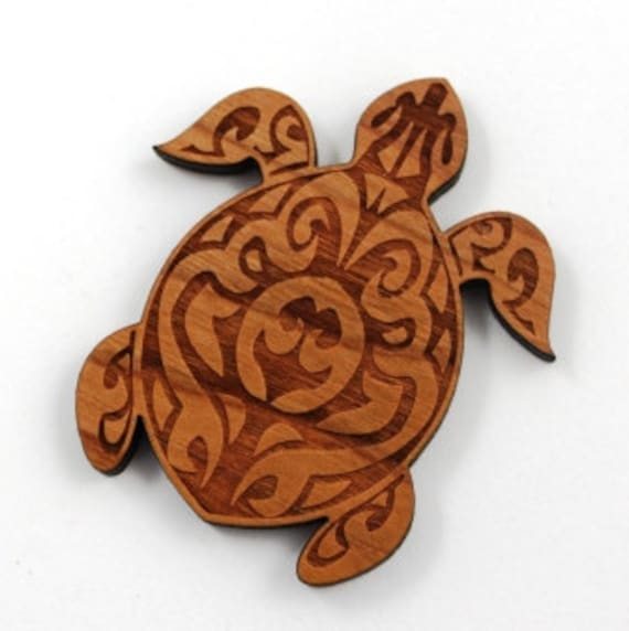 Wood And Acrylic Shapes. 1 Piece.Tribal Turtle Charms. Laser Cut Wood And Acrylic
