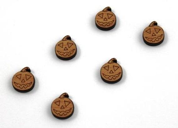 Wood & Acrylic Mini Shapes.8 Pieces.Jack O Lantern  Laser Cut Supplies