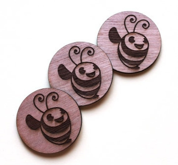 Laser Cut Supplies-1 Piece Cute Bee Charms-Acrylic and Wood Laser Cut -Jewellery Supplies- Little Laser Lab Wood and Acrylic Products