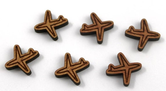 Wood & Acrylic Mini Shapes.8 Pieces.Plane  Laser Cut Supplies